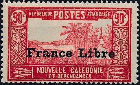 "New Caledonia 1941 Definitives of 1928 Overprinted in black ""France Libre"" v.jpg"