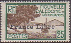 "New Caledonia 1941 Definitives of 1928 Overprinted in black ""France Libre"" i.jpg"