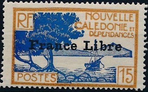 "New Caledonia 1941 Definitives of 1928 Overprinted in black ""France Libre"" g.jpg"