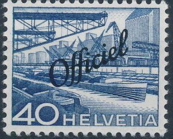 Switzerland 1950 Engineering - Switzerland Postage Stamps of 1949 Overprinted Officiel h.jpg