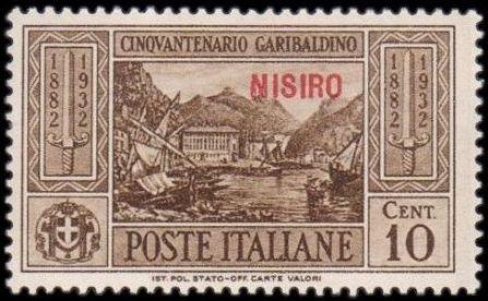 Italy (Aegean Islands)-Nisiro 1932 50th Anniversary of the Death of Giuseppe Garibaldi