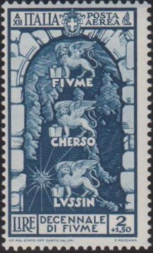 Italy 1934 10th Anniversary of Annexation of Fiume - Air Post Stamps e.jpg