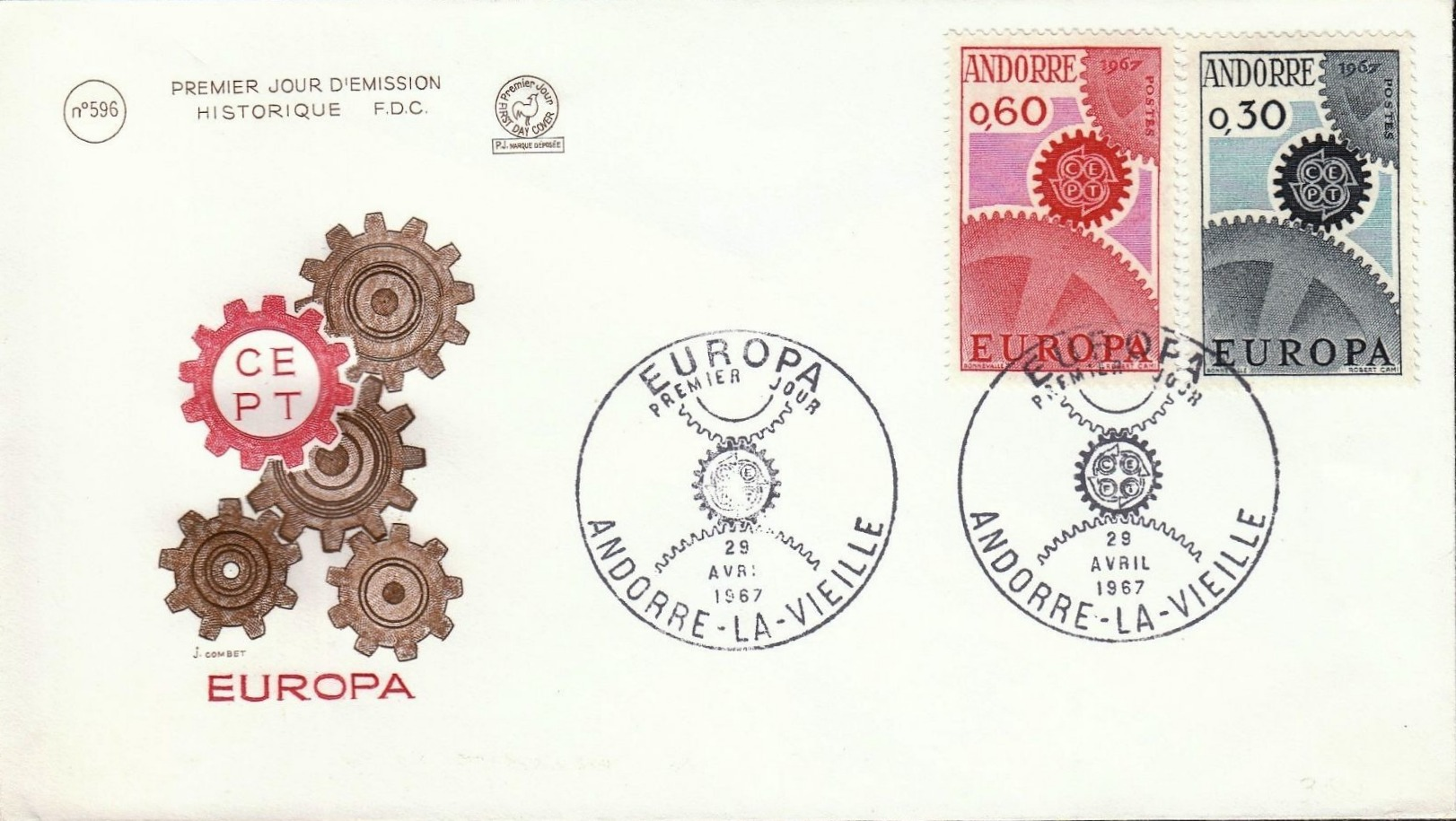 Andorra-French 1967 Europa FDCe.jpg