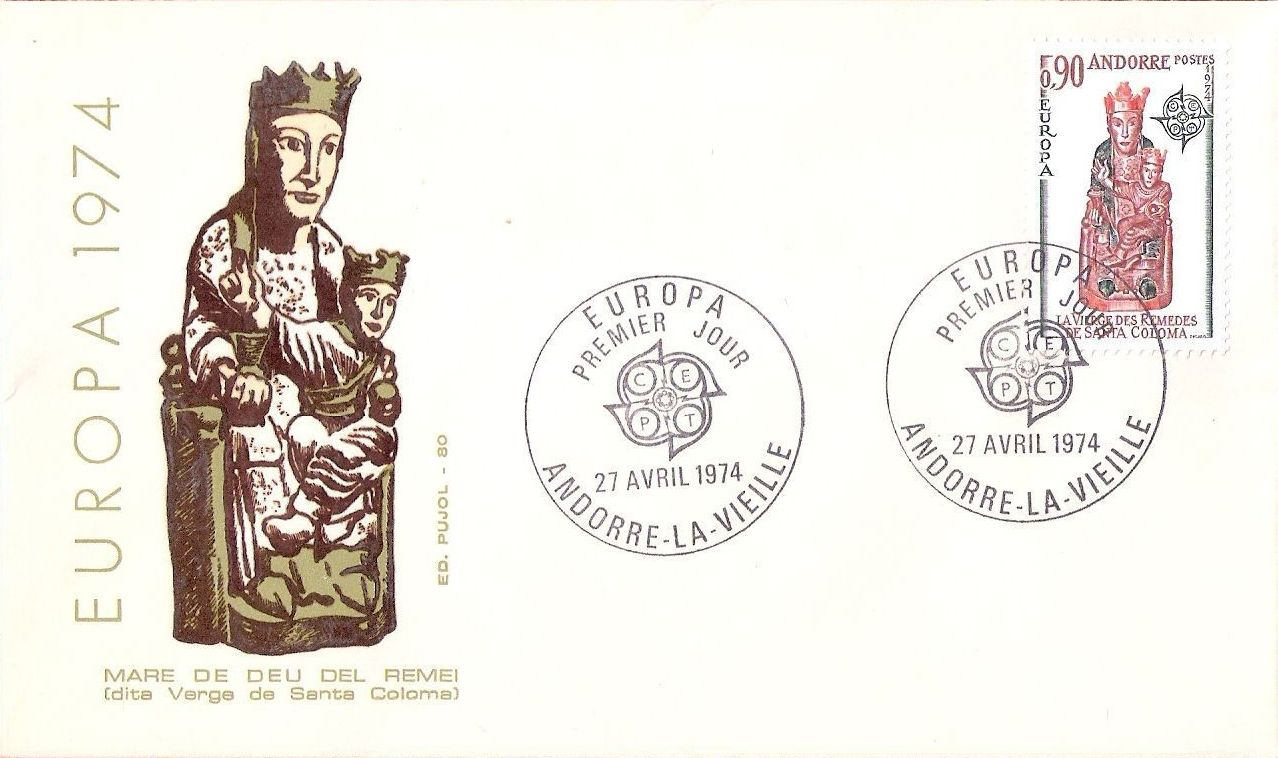 Andorra-French 1974 - Europa - Sculptures FDCb.jpg