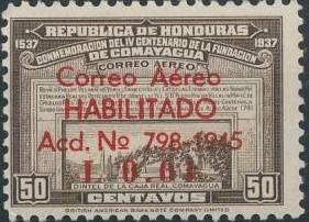 Honduras 1945 Air Post Stamps of 1937-1939 Surcharged