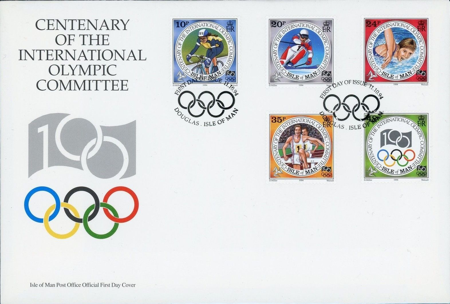 Isle of Man 1994 Centenary of the International Olympic Committee