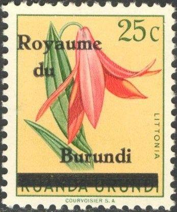 Burundi 1962 Flower Issue of Ruanda-Urundi Overprinted