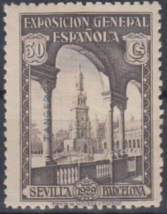 Tangier-Spain 1929 Seville-Barcelona Issue of Spain Overprinted in Blue or Red f.jpg