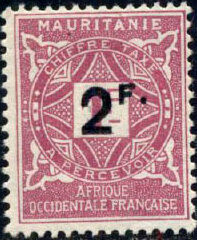 Mauritania 1927 Postage Due Stamps Surcharged