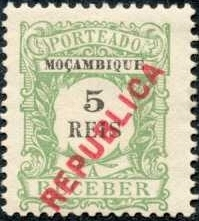 Mozambique 1916 Postage Stamps from 1904 Overprinted REPUBLICA