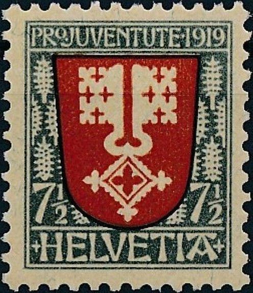 Switzerland 1919 PRO JUVENTUTE - Coat of Arms