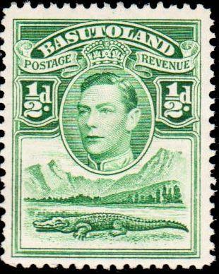 Basutoland 1938 George VI, Crocodile and River Scene