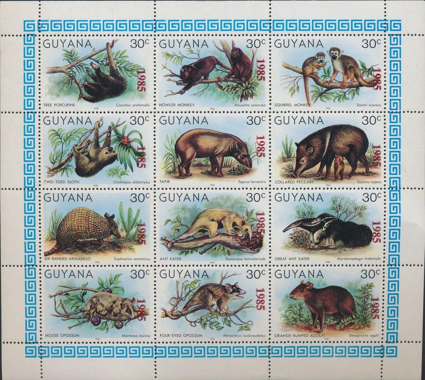 Guyana 1985 Wildlife (Overprinted 1985)