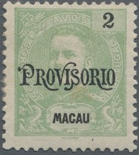 """Macao 1902 Carlos I of Portugal Surcharged in Black """"PROVISORIO"""""""