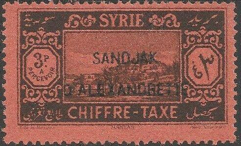"Alexandretta 1938 Postage Due Stamps of Syria (1925-1931) Overprinted ""SANDJAK D'ALEXANDRETTE"" in Red or Black d.jpg"