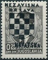 Croatia 1941 Peter II of Yugoslavia Overprinted in Black