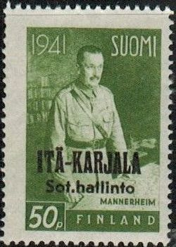 Eastern Karelia 1942 Marshal Mannerheim Overprinted