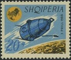 Albania 1966 Launching of the 1st Artificial Moon Satellite - Luna 10