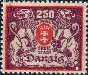 Danzig 1923 Coat of Arms of Danzig and Lions