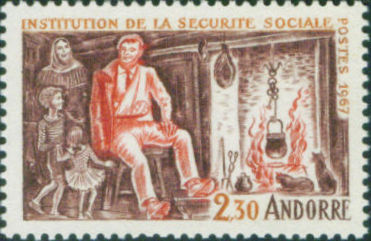 Andorra-French 1967 First Anniversary of the Introduction of Social Insurance