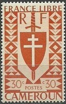 Cameroon 1941 Lorraine Cross and Joan of Arc Shield c.jpg