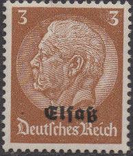 German Occupation-Alsace 1940 Stamps of Germany (1933-1936) Overprinted in Black