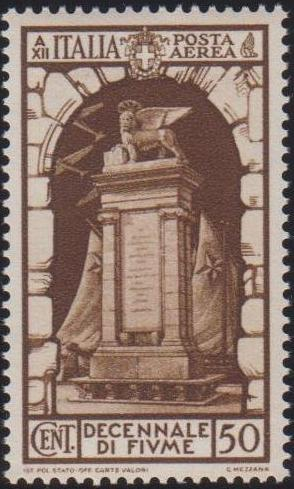 Italy 1934 10th Anniversary of Annexation of Fiume - Air Post Stamps b.jpg