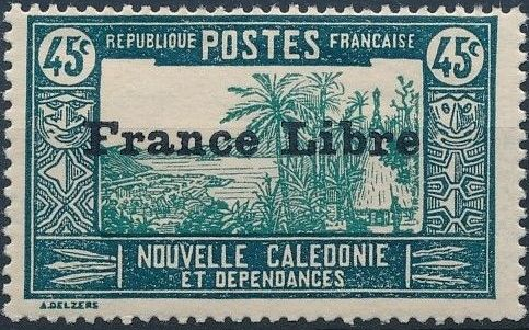 """New Caledonia 1941 Definitives of 1928 Overprinted in black """"France Libre"""" m.jpg"""