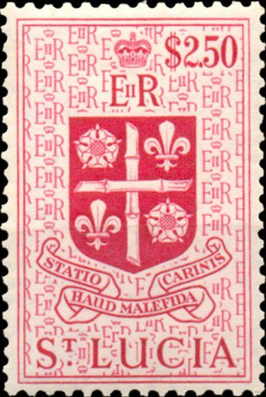 St Lucia 1953 Queen Elizabeth II and Arms of St Lucia m.jpg