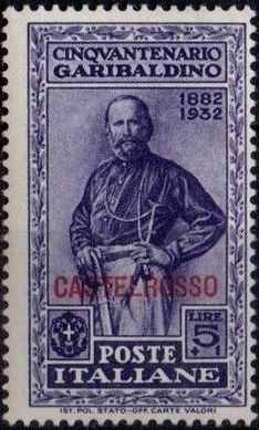 Italy (Aegean Islands)-Castelrosso 1932 50th Anniversary of the Death of Giuseppe Garibaldi j.jpg