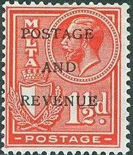 Malta 1928 George V and Coat of Arms Ovpt POSTAGE AND REVENUE f.jpg