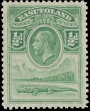 Basutoland 1933 George V, Crocodile and River Scene