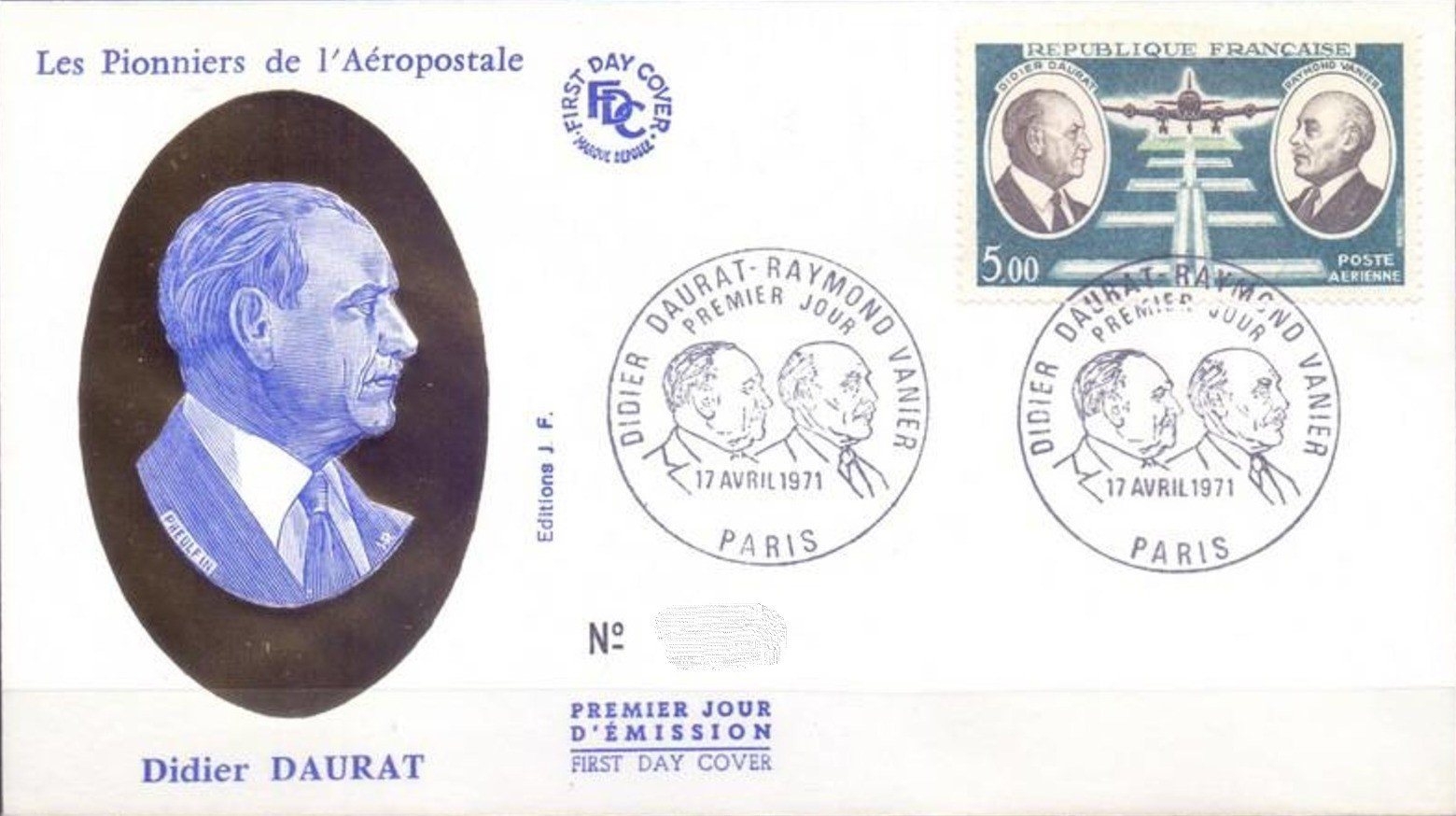 France 1971 Didier Daurat and Raymond Vanier Aviation Pioneers FDCa.jpg