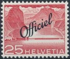 Switzerland 1950 Engineering - Switzerland Postage Stamps of 1949 Overprinted Officiel e.jpg