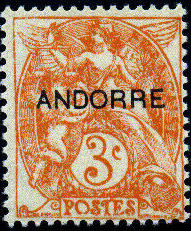 """Andorra-French 1931 Type """"Blanc"""" of France Overprinted """"ANDORRE"""" c.jpg"""