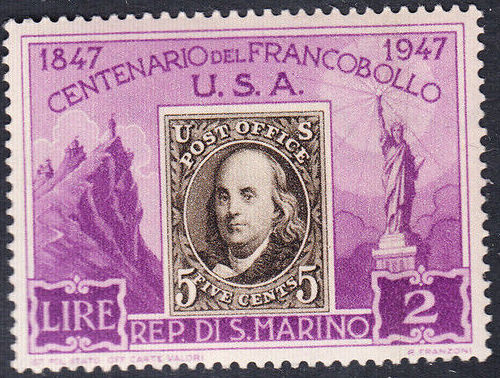 San Marino 1947 Centenary of the 1st United States Postage Stamps a.jpg