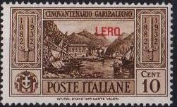 Italy (Aegean Islands)-Lero 1932 50th Anniversary of the Death of Giuseppe Garibaldi