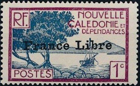 """New Caledonia 1941 Definitives of 1928 Overprinted in black """"France Libre"""" a.jpg"""