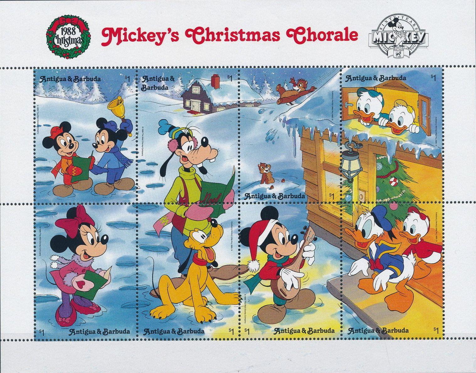 Antigua and Barbuda 1988 Disney - Mickey's Christmas Chorale