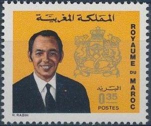 Morocco 1973 King Hassan II & Coat of Arms i.jpg