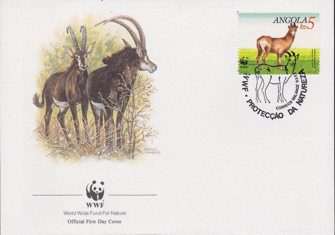 Angola 1990 WWF - Giant Sable Antelope FDCc.jpg