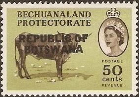 Botswana 1966 Overprint REPUBLIC OF BOTSWANA on Bechuanaland 1961 l.jpg