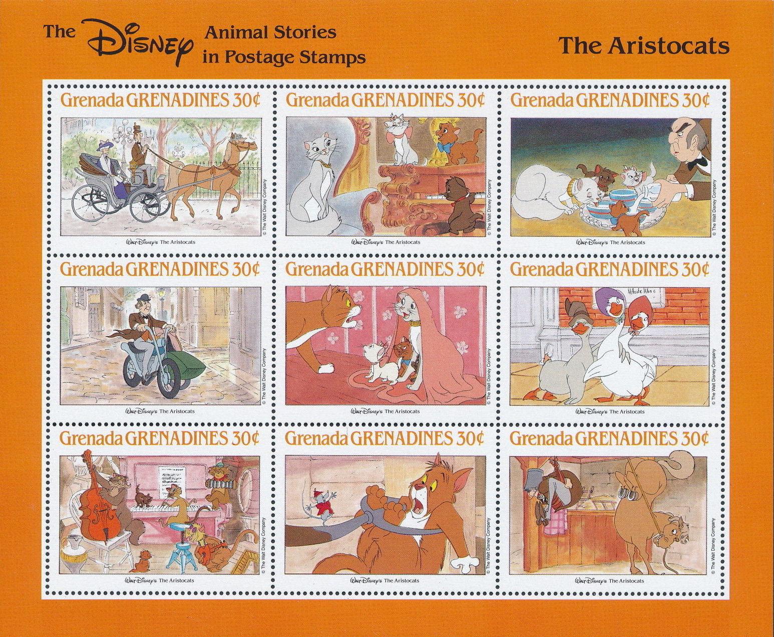 Grenada Grenadines 1988 The Disney Animal Stories in Postage Stamps SSf.jpg