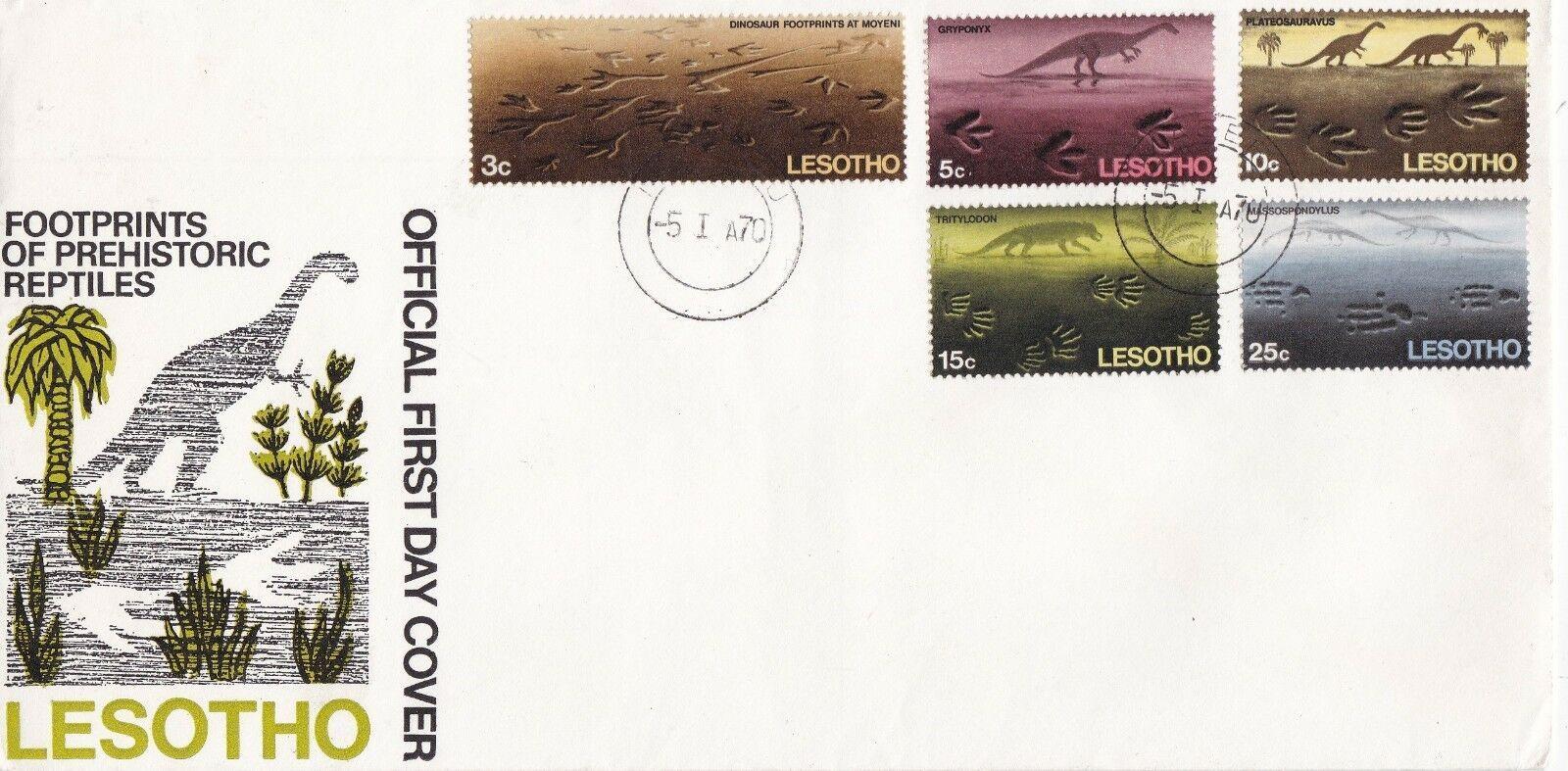 Lesotho 1970 Dinosaurs Footprints FDCa.jpg