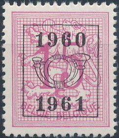 Belgium 1960 Heraldic Lion with Precanceled Number e.jpg