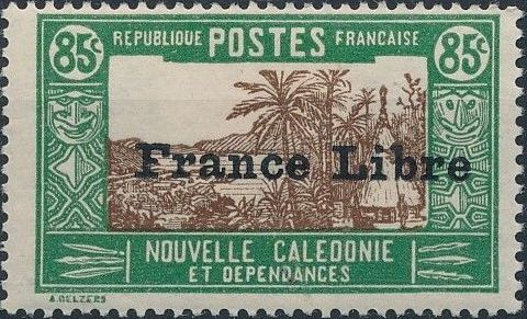 "New Caledonia 1941 Definitives of 1928 Overprinted in black ""France Libre"" u.jpg"