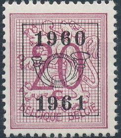 Belgium 1960 Heraldic Lion with Precanceled Number f.jpg