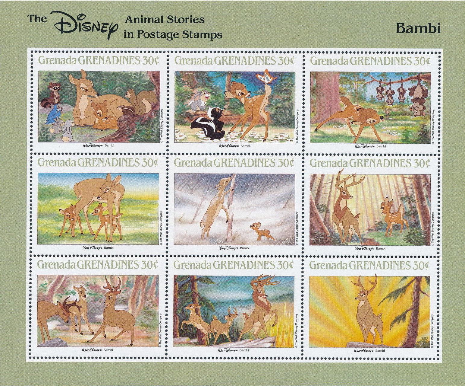 Grenada Grenadines 1988 The Disney Animal Stories in Postage Stamps SSa.jpg