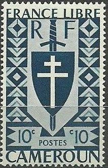 Cameroon 1941 Lorraine Cross and Joan of Arc Shield d.jpg