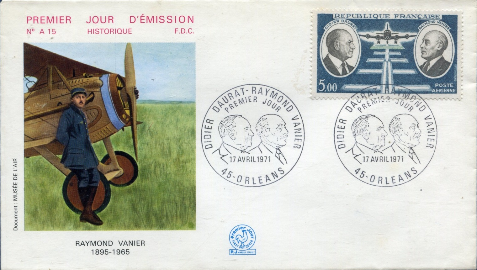 France 1971 Didier Daurat and Raymond Vanier Aviation Pioneers FDCj.jpg